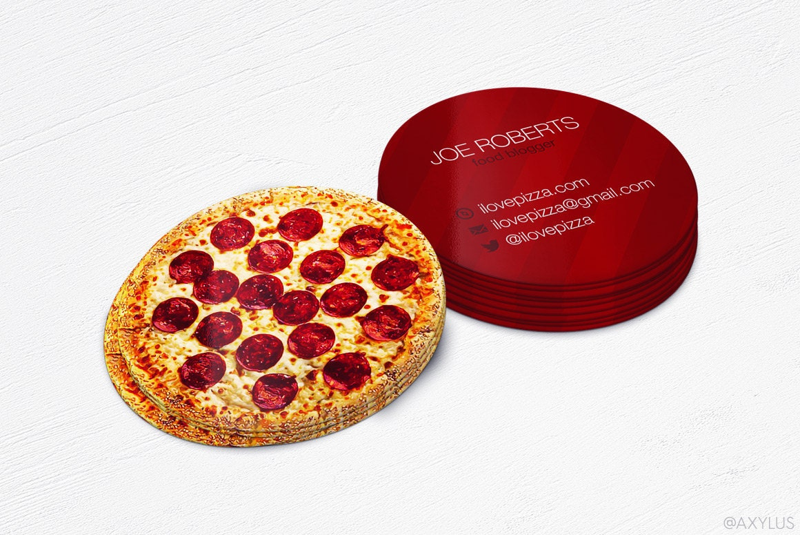 Mini pizza business cards realistic circular cards zoom reheart Image collections