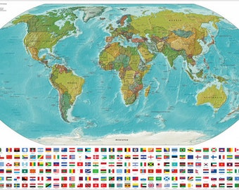 Detailed Geographic World Map Poster 24x36 Land And Political Showing Flags Rare