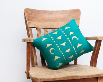 Turquoise Blue Pillow, Turquoise, Turquoise Decor, Tribal Decor, Moon Pillow, Triangle Decor, Throw Pillow, Linen Pillow, Triangle Pillow