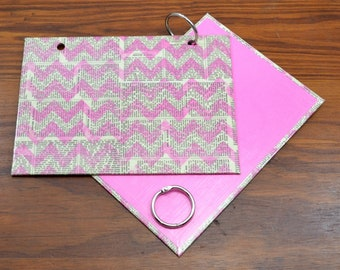 COVER and RINGS ONLY, pink newsprint index card binder, addresses, organize recipes, bible scriptures, gift for nurses, teachers, coworker