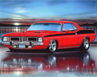 1973 Plymouth Cuda 340 Muscle Car Art Print w/ Color Options
