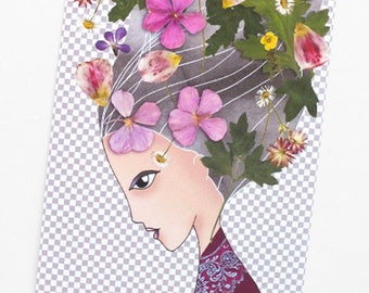 Flower girl card, Blossom flower, Colorful flower, Botanical, Flower stationery, Whimsical art, Princess flower, Princess illustration