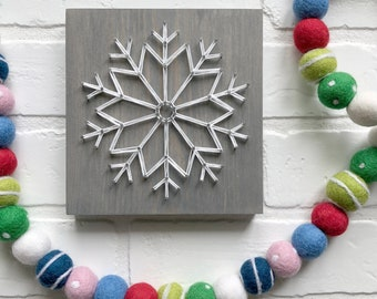 MADE TO ORDER String Art Mid-Size Snowflake Sign | Style #2