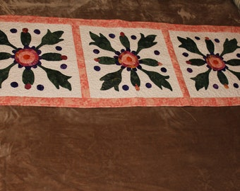 Peach and Purple Floral Applique Table Runner