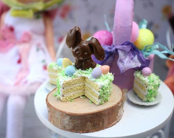 Miniature 3 Layer Vanilla Cake with Chocolate Bunny Easter Eggs and Coconut with 2 Cut Slices for Blythe Barbie Playscale