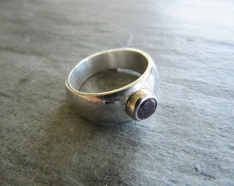 Chunky Amethyst and Sterling Silver Ring Size 6 1/2
