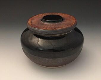 Wheel-thrown Ceramic Jar with Black and Blue Glaze