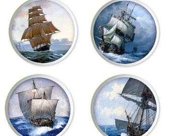 Set of 4 Vintage Sailing Ships Ceramic Knobs or Drawer Pulls for Furniture or Cabinets