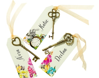 Keys & Tags Name Place Cards - Wedding decor - Guest Name Cards - Personalised tags
