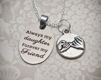 Daughter Necklace -DTR5- Daughter Gift, Daughter Necklace, Gifts for Daughters, Daughter Charm, Daughter Pendant, Pinky Promise
