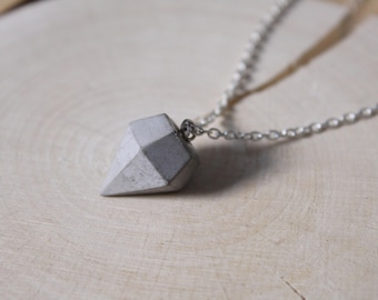 Necklace with concrete diamond pendant classic silver or gold