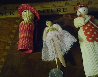 Vintage Corn Husk Dolls and Clothes Pin Ballerina Doll with Blue Eyes Woven and Braided Doll