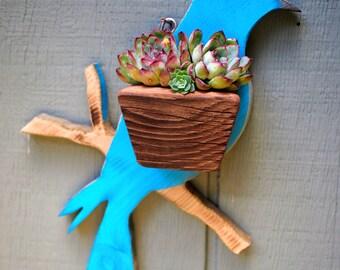 Bird Succulent Planter - Reclaimed Wood Wall Planter Featuring Wooden Blue Bird
