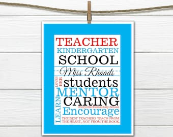 Teacher gift- Quick and Easy Print PDF Printable Personalized Teacher Gift