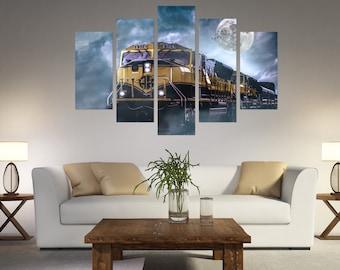 Train print, Train canvas, Train home decor, Train Wall Art, Train wall decor, Canvas Locomotive print, Locomotive art decor Boys Room Decor