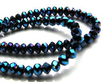 Metallic Blue Faceted 6mm Crystal Rondelle Beads  20