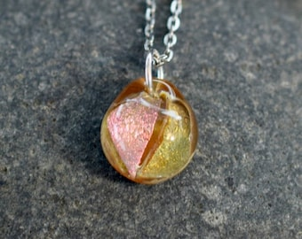 Dichroic Teeny Glass Pendant Necklace Boro Lampwork on Chain - Strawberry Cream