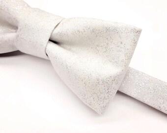 Silver Bow tie, Metallic Silver Bow tie, White Bow tie, Shiny Bow tie, Silver Bowtie, Men's Silver Bow tie, Kid's Silver Bow tie