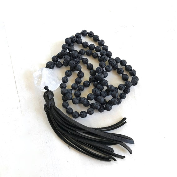 ROOT CHAKRA MALA - Mala Beads For Rebirth -  Black Lava Mala Necklace - Mala For Grounding - Leather Tassel Mala - 108 Beads Mala