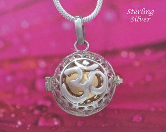 Harmony Ball Necklace Impressive & Symbolic with the Hindu Symbol for OM on the 925 Sterling Silver cage, Harmony Ball, Bola Necklace 262