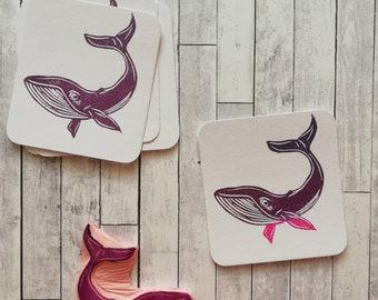 Whale rubber stamp, montessori stamp,