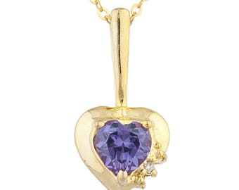 14Kt Yellow Gold Plated Alexandrite & Diamond Heart Pendant