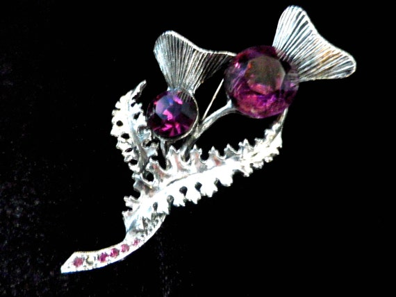 Scottish thistle brooch or scarf in, purple amethyst glass stones