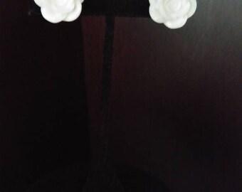 """White flower rose clip-on earrings  """"White Roses"""""""