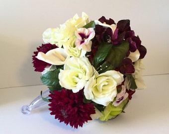 Wedding Bouquet Silk Calla Lilies Roses Mums Pansies Plum White Green