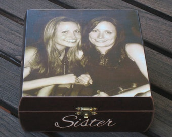 Unique Maid of Honor Gift, Personalized Sister Gift, Custom Bridesmaid Photo Keepsake Box, Unique Photo Gift,  Custom Photo Memory Box