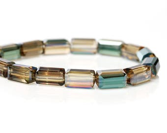 Lot 10 faceted 8x4mm - 69964-design jewelry - multicolored rectangular glass beads