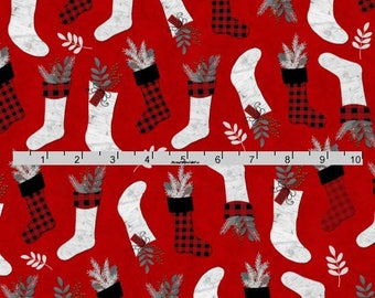 Christmas Stockings Fabric, Christmas Quilt Fabric, Henry Glass, Holiday Homecoming 6759 88 Jan Shade Beach, Christmas Fabric, Cotton