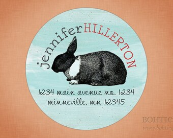 Vintage Bunny Rabbit Easter Return Address Labels