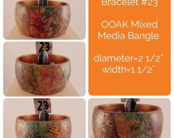 OOAK Art Bracelet #23- Mixed Media Bangle