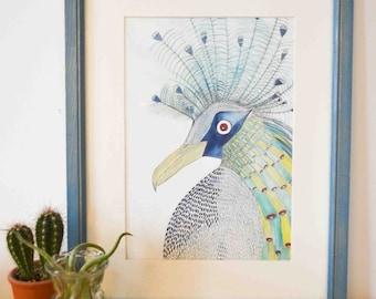 A4 Bird blue (artprint)