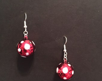 Red with White Polka Dot Ornament Earrings