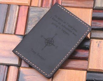 Leather Passport Wallet, Compass Passport Cover, Long Distance Boyfriend Gift, Travel organizer, Travel Wallet, Passport Case