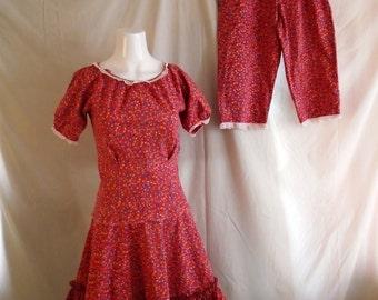 SALE Vintage Girls Square Dance Set 1950's 2 Piece Dress with Pants Calico Cotton Size 6