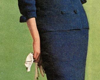 vintage crochet pattern ladies womens double breasted 2 piece suit bundle short skirt and blazer jacket 1960 printable pdf instant download