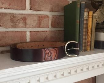 Vintage Leather Belt - Horse Belt - Brown Leather Belt - Western Belt - Made in USA - Leather Accessories