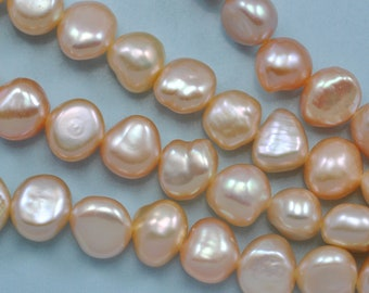 7 - 8 mm Peach Champagne pink Baroque Nugget Freshwater Pearls Beads A