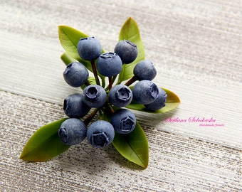 Blueberries Brooch handmade brooch cold porcelain Blueberries brooches Floral Brooch Blueberries cold porcelain
