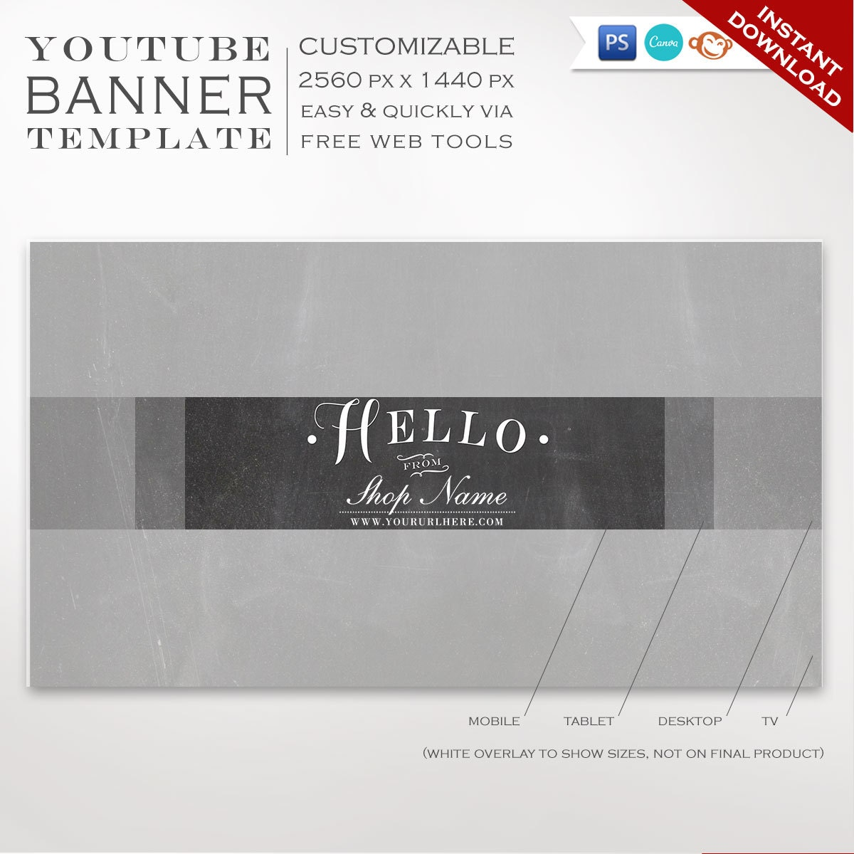 Youtube Channel Banner Maker: Youtube Banner Template Chalkboard Youtube Channel Art