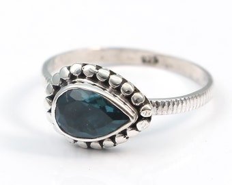 London blue topaz 92.5 sterling silver ring size 8 us