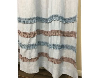 Blue And White Ticking Stripe Shower Curtain With Chambray Surf Raspberry Ruffle Rows