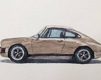 Porsche, Porsche painting, Porsche watercolor, Porsche 911, car painting, car watercolor, car art, child artist, German car, 80's Porsche