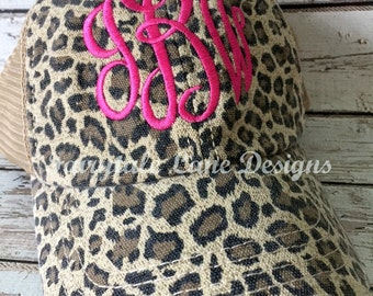 Monogram Leopard Trucker Hat ~ Leopard Cheetah Baseball Cap