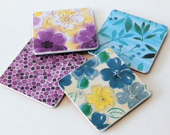 Drink Coasters- Set of 4 Decoupage Coasters- Floral Coasters