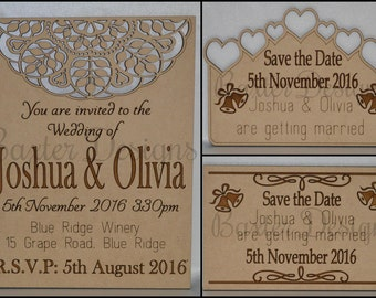 Wedding Party Celebration Save the Date, Invitation MDF and Bamboo
