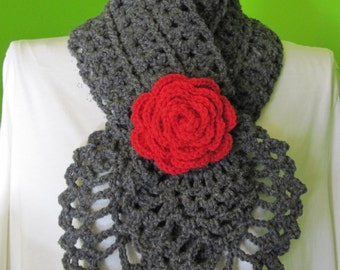 Charcoal grey scarf with a rose (red)
